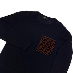 Fendi Black Velour Pocket Sweatshirt