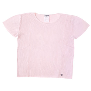Chanel Baby Pink Short Sleeve Sweater