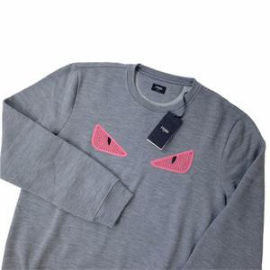 Fendi Bag Bugs Grey & Pink Studded Sweatshirt