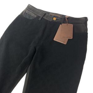 Louis Vuitton Black Embossed Monogram Leather Detailing Trousers
