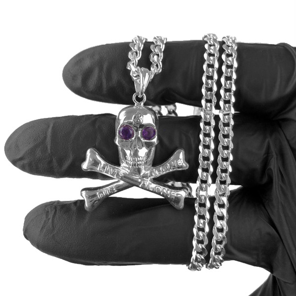 Sterling Silver Natural Amethyst Skull Pendant & Chain w/ Certificate