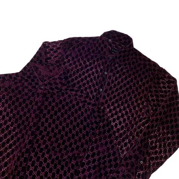 Gucci by Tom Ford 1997 Purple Velvet Monogram Shirts