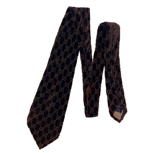 Gucci by Tom Ford 1997 Brown Velvet Monogram Tie