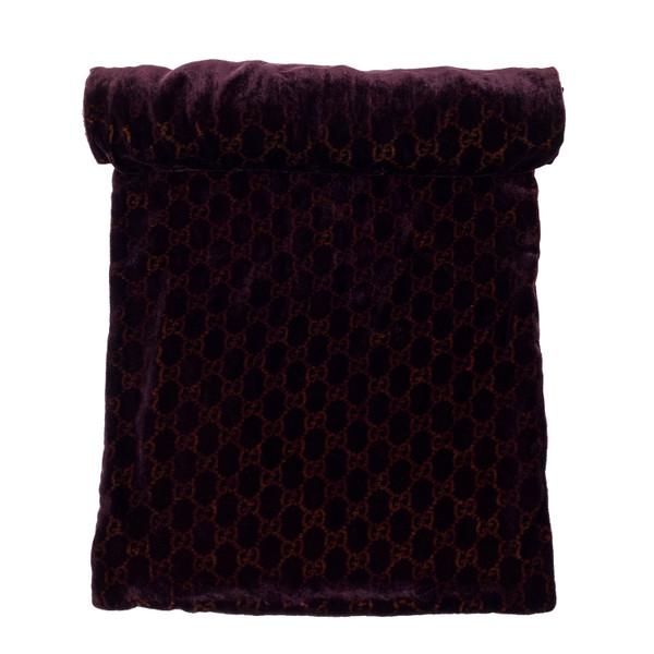 Gucci by Tom Ford 1997 Purple Velvet Monogram Scarf