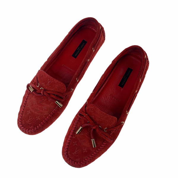 Louis Vuitton Red Suede Monogram Gloria Loafers