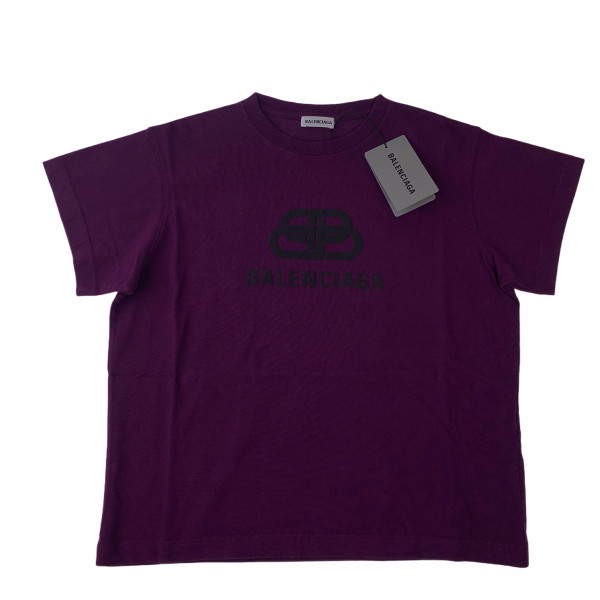 Balenciaga BB Logo Violet & Black Women's T Shirt