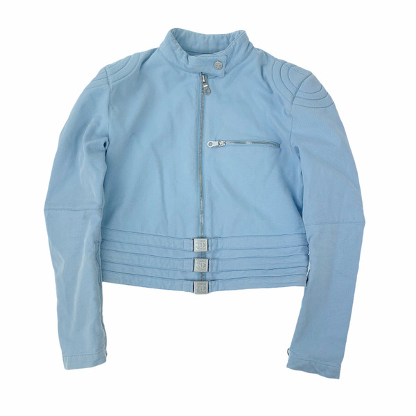 Chanel Baby Blue Biker Jacket