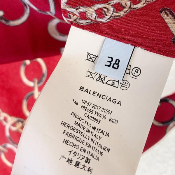 Balenciaga Chain Print Silk Wrap Blouse