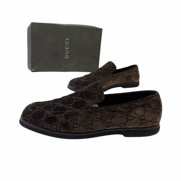 Gucci by Tom Ford 1997 Brown Velour Monogram Loafers