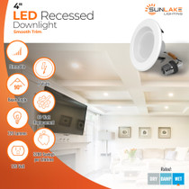 """Sunlake Lighting 4"""" inch LED recessed downlight smooth 60 watt replacement, 8 watt LED, dimmable, 90 degree beam angle, 1080 lumens, 10-year warranty, wet rated"""