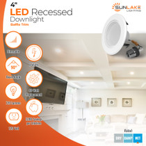 """Sunlake Lighting 4"""" inch LED recessed downlight baffle 60 watt replacement, 8 watt LED, dimmable, 90 degree beam angle, 1080 lumens, 10-year warranty, wet rated"""