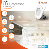 """Sunlake Lighting 5/6"""" inch LED recessed downlight smooth 75 watt replacement, 12 watt LED, dimmable, 90 degree beam angle, 1080 lumens, 10-year warranty, wet rated"""