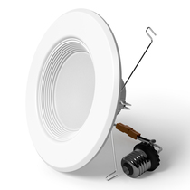 "Sunlake Lighting 5/6"" inch LED recessed downlight baffle 75 watt replacement single light image"