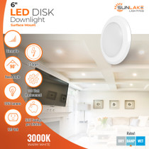 """6"""" inch LED disk surface downlight - Canless Recessed Light - 15W=100W Replacement - Flush Mount direct wire. Dimmable. 90 degree beam angle. 1050 lumens. 10-year warranty. damp rated."""