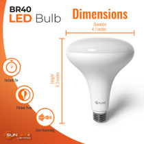 """SunLake Lighting Standard LED Lamp bulb BR40 85 watt replacement, diameter 4.7"""" inches, height 6.3"""" inches"""
