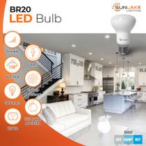 SunLake Lighting Standard LED Lamp bulb BR20 50 watt replacement, 6 watt LED, dimmable, 100 degree beam angle, 540 lumens, 10-year warranty, damp rated
