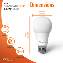 """SunLake Lighting Standard LED Lamp bulb A19 75 watt replacement, diameter 2.4"""" inches, height 4.3"""" inches"""