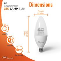"SunLake Lighting B11 candelabra LED Vintage Edison Lamp bulb B11 40 watt replacement diameter 1.4"" inches, height 3.9"" inches"