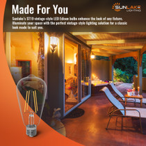 Sunlake Lighting ST19 vintage-style filament lights are made for you: great for decorative light, enhancing the look of any fixture