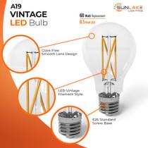 Sunlake Lighting A19 Vintage LED bulb 60 watt replacement 8.5 watt LED glare-free smooth lens design LED vintage filament style E26 standard screw base