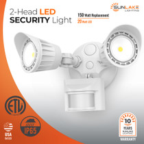 SunLake Lighting LED 2-head motion sensor security light 150W replacement, 20W LED. ETL Listed. IP65 rated. USA Based. 10-year warranty.