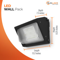 SunLake Lighting LED Wall Pack exterior weatherproof security light depth 7.5 inches, height 9.25 inches, length 13.2 inches