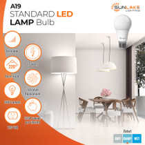 Sunlake Lighting A19 LED bulb 100 watt replacement 15 watt LED, dimmable, 220 degree beam angle, 1600 lumens, 10-year warranty, damp rated