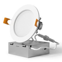 """SunLake Lighting 4 Inch Flush Mount Slim LED Downlight, 10W=65W, 650 LM, Dimmable, Hardwire 5/6"""" Junction Box compatible, Recessed Retrofit Ceiling Fixture"""