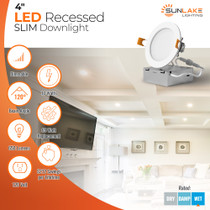 """SunLake Lighting 4 Inch Flush Mount Slim LED Downlight, 10W=65W, 650 LM, Dimmable, Hardwire 5/6"""" Junction Box compatible, Recessed Retrofit Ceiling Fixture, 120 degree beam angle, 65 watt replacement, $212 lifetime savings, 120 volt"""