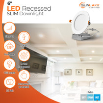 """SunLake Lighting 6 Inch Flush Mount Slim LED Downlight, 14W=75W, 1100 LM, Dimmable, Hardwire 5/6"""" Junction Box compatible, Recessed Retrofit Ceiling Fixture, 120 degree beam angle, 75 watt replacement, $235 lifetime savings, 120 volt"""