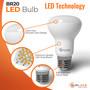 SunLake Lighting BR20 LED bulb, 50 watt replacement, 6 watt LED, Glare-free smooth lens design, premium quality LED chip board, E26 standard screw base.
