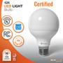 Sunlake Lighting G25 LED bulb UL Classified, Energy Star rated, 10-year warranty, FCC compliant, USA-based