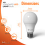 """SunLake Lighting Standard LED Lamp bulb A19 60 watt replacement, diameter 2.4"""" inches, height 4.1"""" inches"""