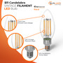 SunLake Lighting B11 candelabra LED Vintage Edison Lamp bulb B11 40 watt replacement, 4 watt LED, glare-free smooth lens design, LED vintage filament style, E12 candelabra screw base