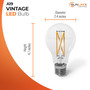 """SunLake Lighting Standard LED Vintage Edison Lamp bulb A19 60 watt replacement, diameter 2.4"""" inches, height 4.1"""" inches"""