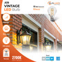 Sunlake Lighting A19 Vintage LED bulb 60 watt replacement 8.5 watt LED dimmable, 300 degree beam angle, 800 lumens, 10-year warranty, wet rated, 2700K soft white