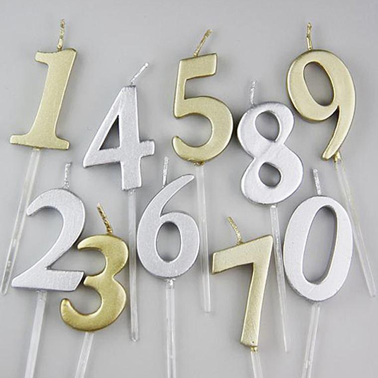 復古經典數字蠟燭 (香檳金/閃鑽銀) (*此類產品必須購買本店食品方可一同選購,恕不獨立銷售。)