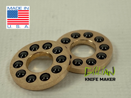 """5mm Caged Ceramic Bearing made in house by knife maker Gillian Inside Diameter .200 fits easily standard 5mm pivot Outside Diameter .465 fits inside a 3/8"""" or 12mm counterbore."""