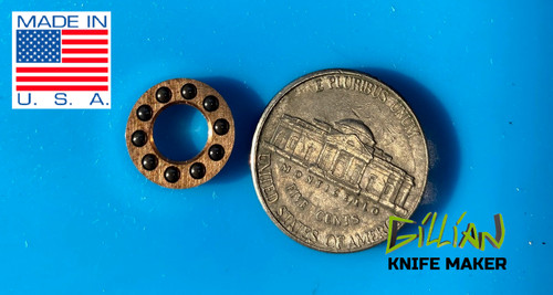 """Self-Lubricating Sintered Bronze Retainer Cage is impregnated with SAE 30 oil. Inside Diameter .252"""" Outside Diameter .493"""" Bearings 2mm (0.0787"""")"""