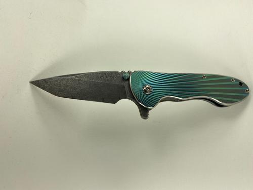 #049 The Fallen Star Knife, Built by knife maker Christopher Gillian July 2021, Acid Washed XHP Blade, Anodized 95V