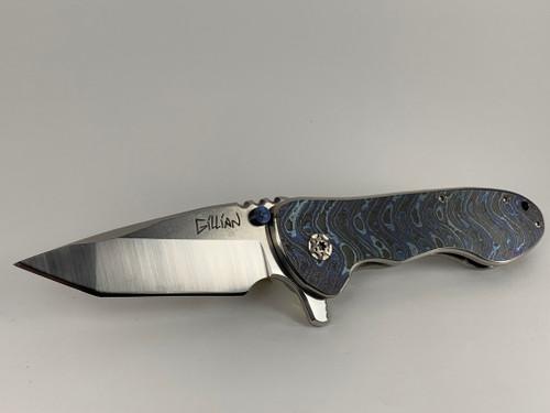 The Sweetheart #42 Custom Knife Zircu-Ti Boomerang Damascus Presentation side