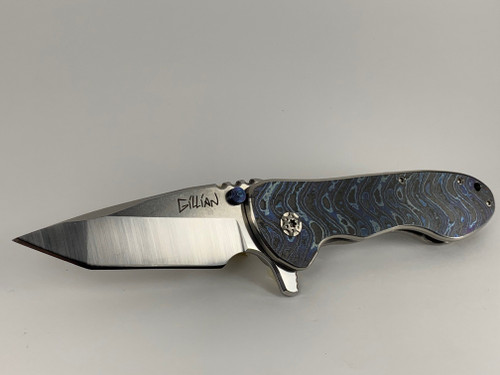The Sweetheart #42 Custom Knife Zircu-Ti Boomerang Damascus Presentation side