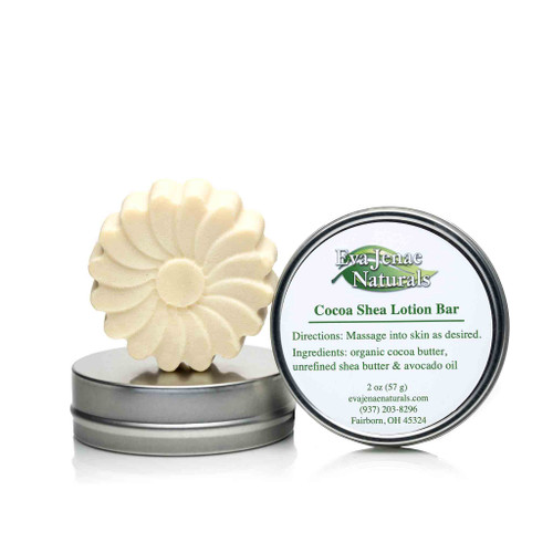 100% natural & vegan lotion bar is the ultimate solid skin protectant and moisturizer for your skin!  Our Cocoa Shea Lotion Bar does not contain any wax and is great for rough areas like knees and elbows.
