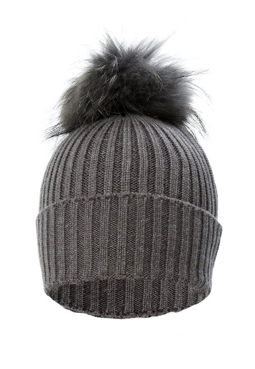 ad9f0586d14 Dark Grey Wool and Silk Fox Fur Bobble Hat FFDT19A-D03 - City Cows