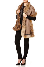 Reversible Cashmere & Wool Mix Wrap with Raccoon Fur Trim in Dark Grey