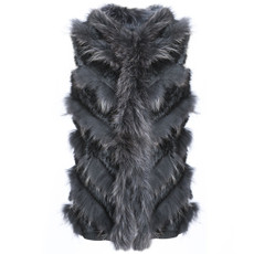 Long Black Coney and Fox Fur Tube Gilet RF4678A-01
