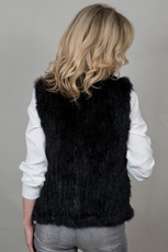 Short Black Rabbit and Fox Fur Gilet FF46A-01