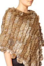 Mocha Rabbit Fur Poncho (with pom poms)