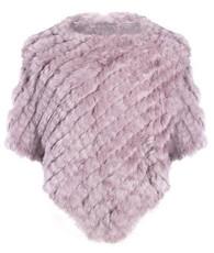 Dark Pink Rabbit Fur Poncho