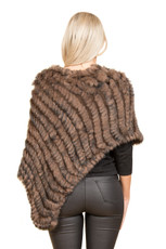 Chocolate Brown Coney Fur Poncho RF1018A-04